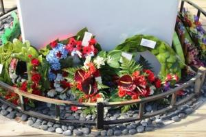 Wreaths at Mongonui Anzac Day service 2014